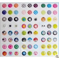 HOT SALE!! 300pcs/lot, Home Button Stickers for iPhone 4 4s 5 iPad iTouch DIY phone decoration Free shipping