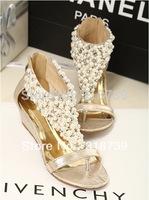 Fashion bohemia pearl female sandals flat female shoes