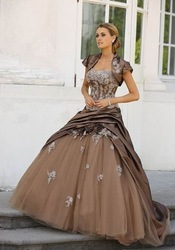 Free Shipping tailor-made hot selling shrot sleeve bolero sweetheart coffe taffeta white appliques charming Quinceanera Dress(China (Mainland))