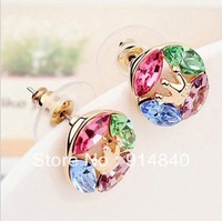 High quality crystal jewelry Factory price  Cool summer round crown full of  crystal earrings  Z081