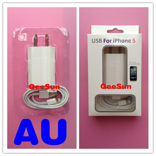 2 in 1 Kit Australia AU NZ Plug AC Home Wall Power Adapter Charger 8 Pin USB Data Sync Cable For Apple IPhone 5 5G with Package(China (Mainland))