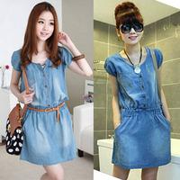 Freehipping 2013 women plus large size L XL denim dress jeans with belt woman short sleeve jeans dresses denim one-piece dress