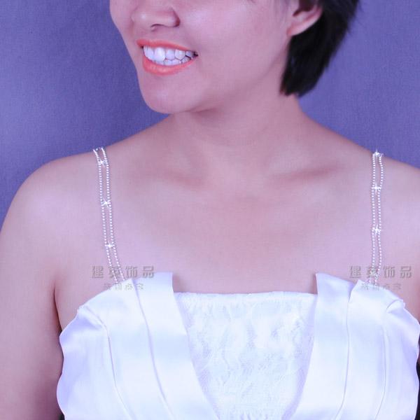 Beads clip bride chain bridesmaid wedding dress spaghetti strap shoulder strap dinner underwear pectoral girdle(China (Mainland))
