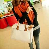 Hot style in Europe and America retro fashion handbags Korean version of the large shoulder diagonal package 2013  black orange