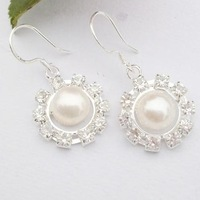 free shipping 3pcs/lot shinny crystal inset round shape 7mm pearl earrings(Min Order 6$)