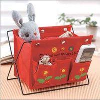 Free shipping 2PCS/lot wholesale Can be folded canvas iron shelf wicker/Storage Baskets/box for desktop