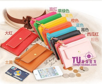 Fashion women's short design wallet bag lychee mobile phone key portable small change wallet coin case