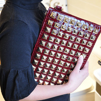 2013 punk trend of the clutch rivet day clutch bag envelope bag one shoulder cross-body female clutch