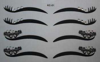 Wholesale 100sets Fashion make up eyeliner tattoo black eyeliner shadow sticker with rhinestones Smoky Eyes Temporary Tattoos