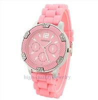 Free shipping Geneva Popular Crystal Stone Silicone Lady/Women/Girl Jelly Quartz Wrist Watch pink
