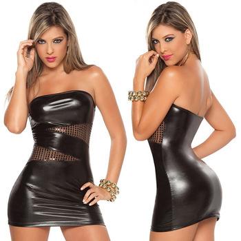 Frete Grátis Negras Sexy Couro Latex Club Wear Trajes Vestuário Lingerie Catsuits Cat Ternos Vestido