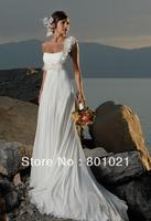 Single shoulder of handmade flowers shoulder strap chiffon picturesque gown Beach Wedding Dress