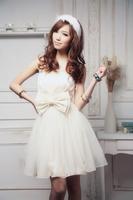 Free Shipping Short Design Bride Evening Dress Bridesmai Tube Top Dress Princess Dress Wedding Dress 4 Colours Free size