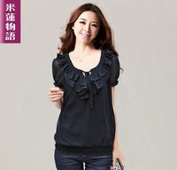 FREE SHIPPING 2013 plus size clothing plus size chiffon shirt short-sleeve chiffon t-shirt black chiffon top  WHOLESALE