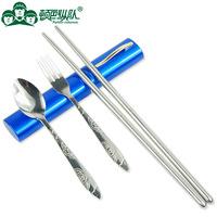 ZP1201 outdoor tableware portable chopsticks set folding eco-friendly spoon fork chopsticks set Size:14.5cm*2.5CM