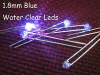 100pcs/Lot, New 1.8mm Blue Bright Water Clear LED 7000mcd Leds 2-Pin Free Shipping