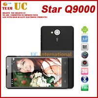 New Arrival ! Q9000 5.0'' HD 1280*720 Screen MTK6589 Quad Core 1.2GHZ 1GB+4GB Android4.1 OS 3G Unlocked GPS Phone