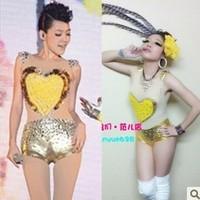 Incarcerators rhinestones gold gauze patchwork female singer ds dj costume