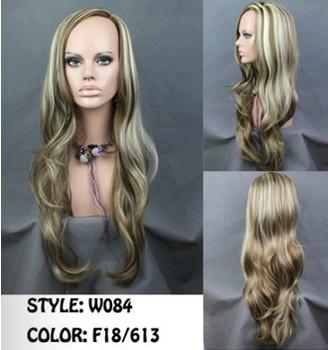 Free shipping Fashion Fabulous Long Layers Wavy Wig BROWN mix Blonde Ladies Wigs Skin Top