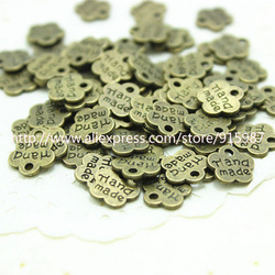 200pcs Fashion Jewelry Findings,,metal tags for jewelry,Alloy Antique Bronze 8*8MM plum flower plate Hand made letter charms(China (Mainland))