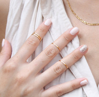 Fashion Simple Gold Circle Finger Ring Jewelry (HLN601-2)