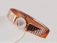 freeshipping Titanium steel plated 14K Rose Gold Reincarnation bracelet with Shell Agate famous brand  wholesale fashion jewelry