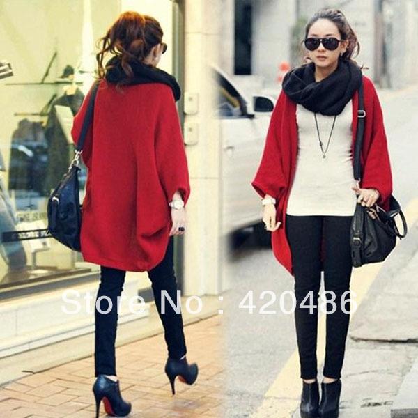 New Fashion Womens Batwing Loose Woolen Knitting Sweater Wrap Outwear Cardigan Shawl sweaters Free Shipping(China (Mainland))