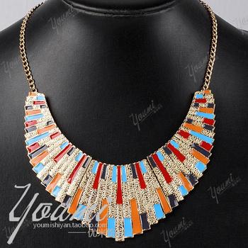 Fashion national trend women's fan-shaped alloy fashion false collar necklace