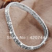 6PCS/Lot   Wholesale  Fashion Silver Plated 2 Row CrystalMetal Anklet Bracelet, Ankle Bracelet