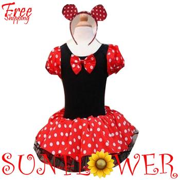 2013 Dress Children Girl's Cartoon Minnie Mouse Costume Play Princess TUTU Ballet Dress 2PC Sets Free Shipping