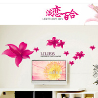 High quality, 2013 new,Removable,Lily flower mirror wall stickers flower tv sofa,free shipping