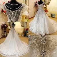 Dmr022 Dreamaker Cap Sleeve Sexy Back A Line Vintage Luxury Wedding Dress Fully Crystals Beads