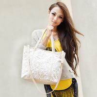 2014 New arrival Free shipping hot-selling  women's handbag cutout crochet lace shoulder bag