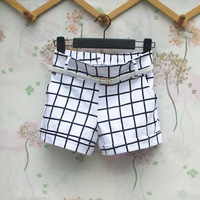 2013 women's fashion all-match black and white plaid shorts casual pants trousers female