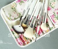 2013 free shipping new fashion flower rose print make up kit 12 pic wool cosmetic brush set cosmetic tools set bag m21