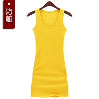 2 spaghetti strap vest female basic long design slim hip 100% cotton tank dress tank