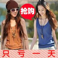 Spring plus size clothing t-shirt women's loose spaghetti strap vest female basic shirt