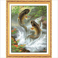 Top Quality Counted Cross Stitch Kits  Free Shipping Fish Leaping Over The Dragon Gate WaterWater