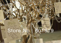 Free shipping 60Meter/lot 144mm Arylic crystal strand garland for wedding centerpiece wish tree decoration Very clear