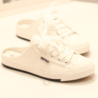 Summer shallow mouth canvas shoes flat-bottomed single shoes female slippers half-slippers shoes lazy maternity shoes