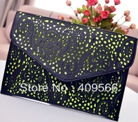 Laser cutout three-color envelope bag 2013 new fashionwomen's handbags messange tote bag high quality free shipping