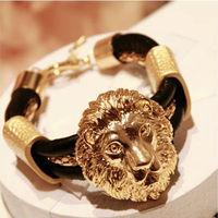 wholesale fashion gold lion head bracelet leather lion bracelet jewelry 12pcs/ lot free shipping