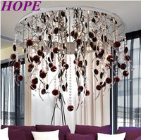2014  new product wine red crystal ceiling lamp G4 lamp beads