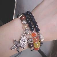 wholesale natural navy stone bracelet fish star charms pendant bracelet 12pcs/ lot free shipping