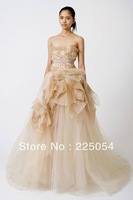 A-Line New Flowers Strapless Neckline Sleeveless Wedding Dresses