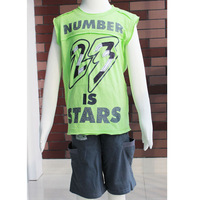 Free Shipping! children clothes boy green t shirt sleeveless and short pants size 6-14 2570K