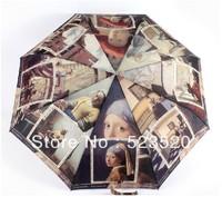 Free shipping Automatic umbrella Folding umbrella Retro painting umbrella UV