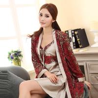 Pajama Sets: Summer women's sexy silk spaghetti strap nightgown twinset female sleepwear robe