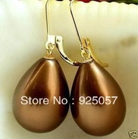 Beautiful chocolate shell pearl earrings Fashion jewelry