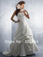 Ivory White Satin Strapless Neckline Sleeveless Floor-length Wedding Dresses